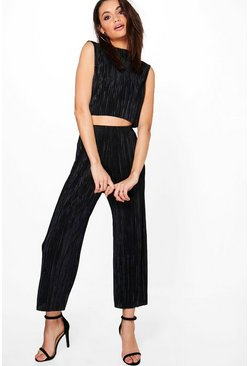 Kat Pleated High Neck Crop & Culotte Co-ord Set