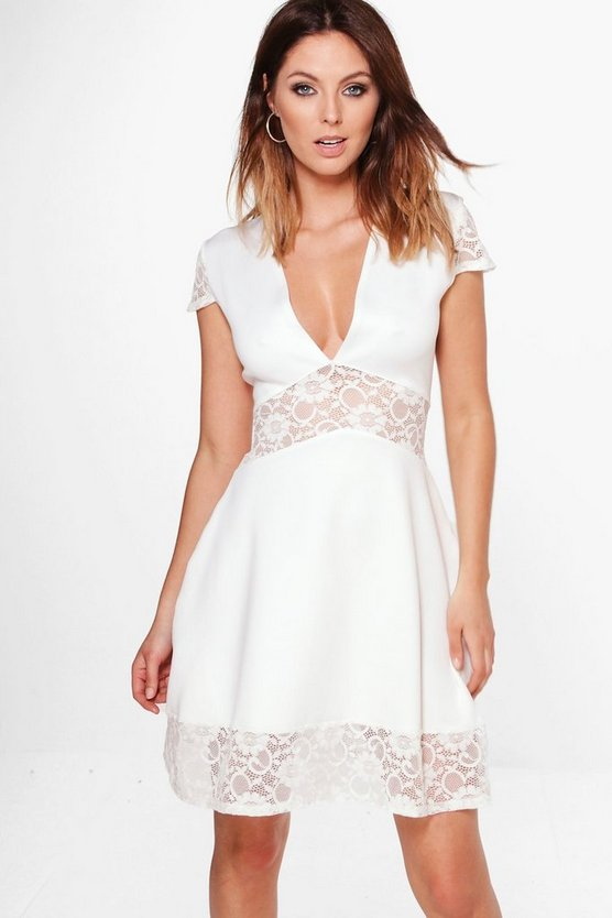 Layla Lace Insert Plunge Neck Skater Dress