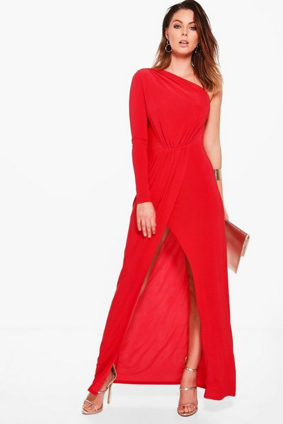 Caia One Shoulder Wrap Slinky Maxi Dress