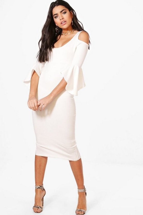 Tyra Open Shoulder Frill Midi Dress