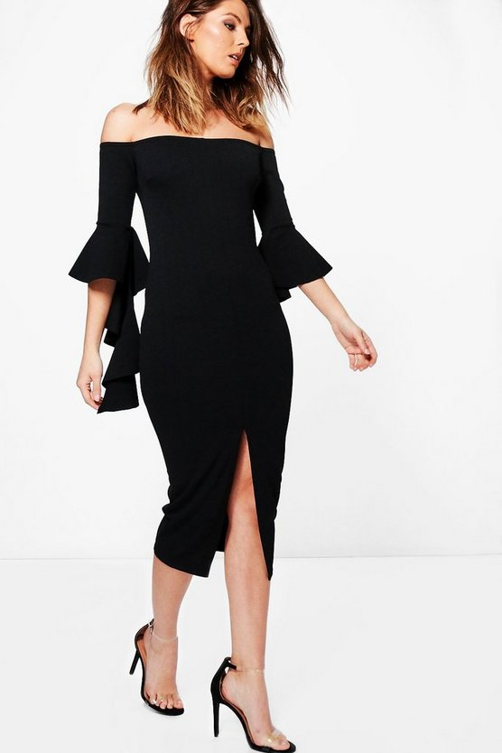 Joy Off Shoulder Frill Sleeve Detail Midi Dress