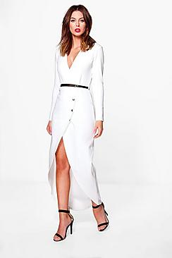 Paige Plunge Button Tailored Midi Dress