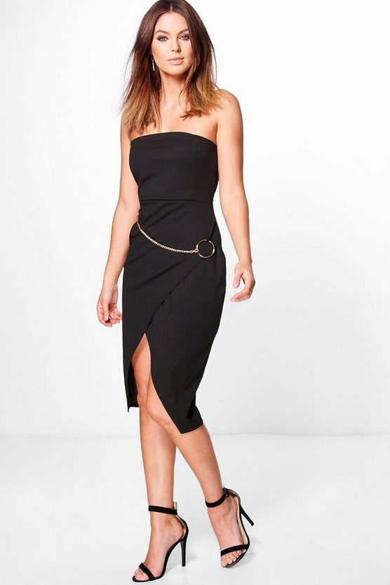 Kayla O-Ring Chain Detail Bandeau Dress