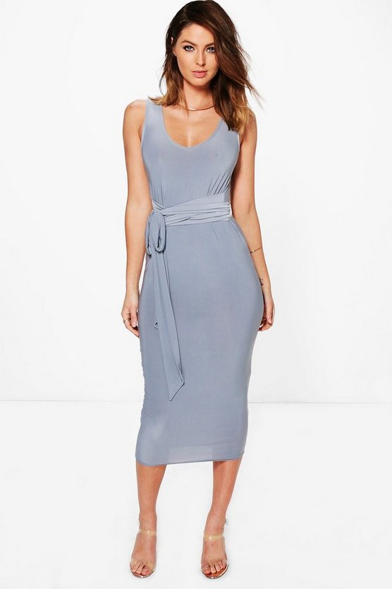 Holly Slinky Multi Tie Waist Midi Dress