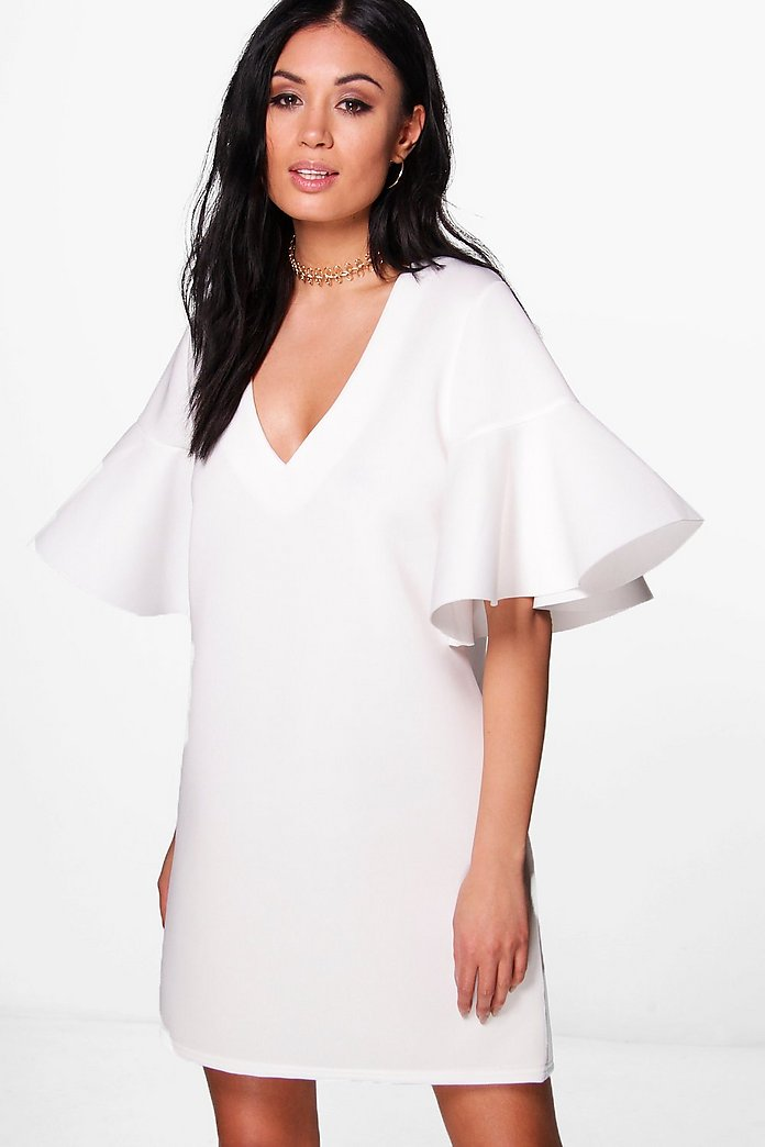 Heidi Scuba Frill Sleeve Shift Dress