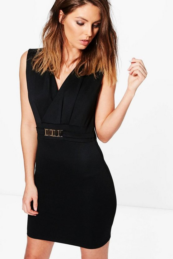 Elin Button Wrap Sleeveless Bodycon Dress