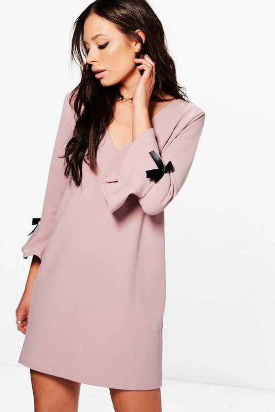 Rhea Frill Tie Sleeve Formal Shift Dress