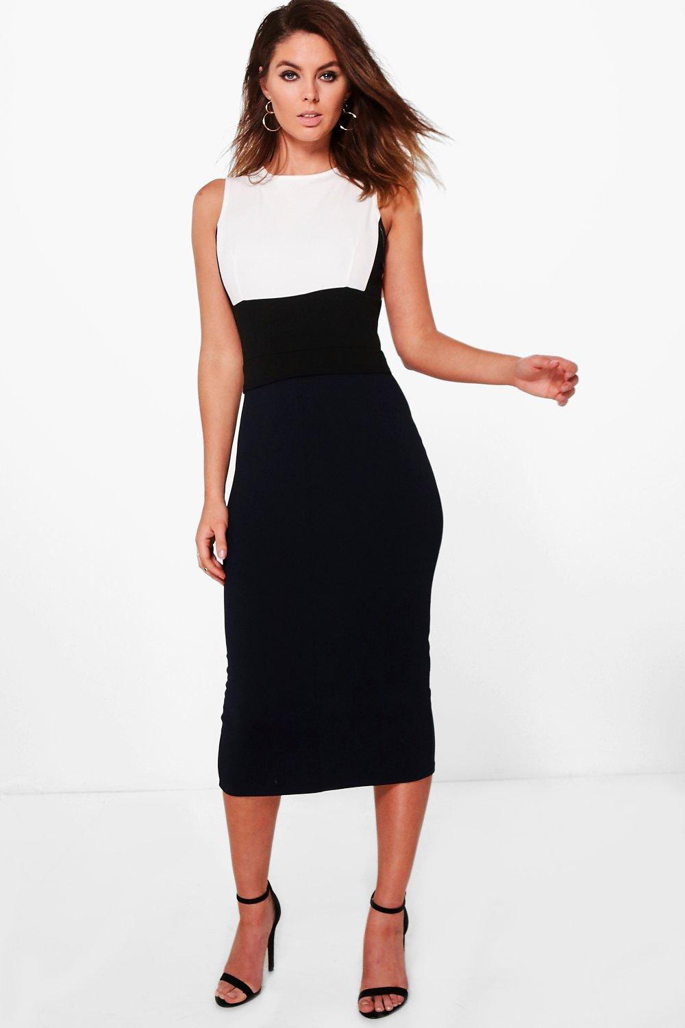 Structured Colour Block Formal Midi Dress  navy