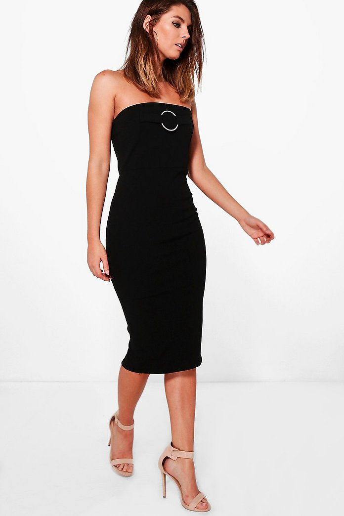 Rebecca O-Ring Bandeau Midi Dress