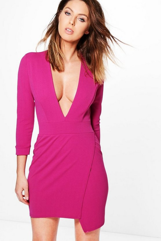 Quinn Plunge Stepped Hem Bodycon Dress