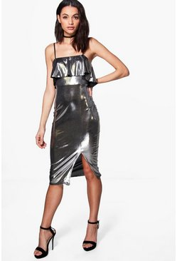 Lauren Ruffle Metallic Strappy Midi Dress
