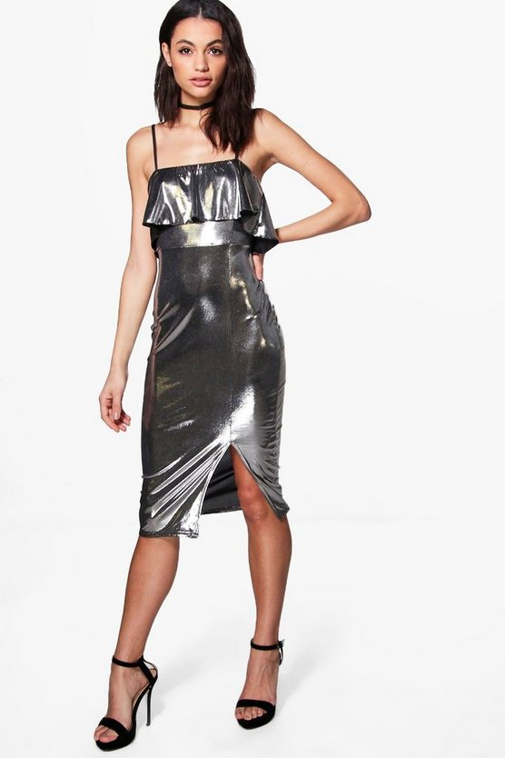 Ruffle Metallic Strappy Midi Dress