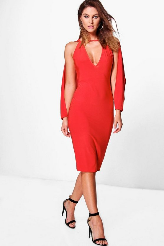 Karlie Low Back Slash Sleeve Midi Dress