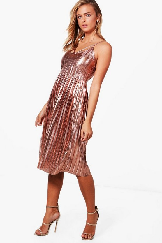 Jasmine Metallic Pleat Strappy Midi Dress