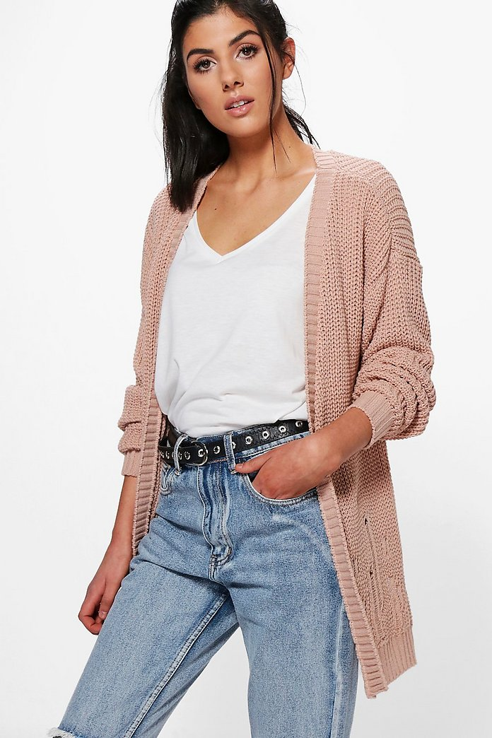 Abigail Distressed Hem Edge To Edge Cardigan