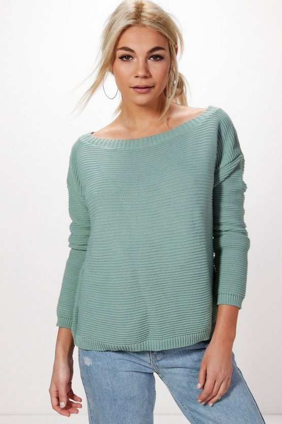 Maria Slash Neck Rib Crop Jumper