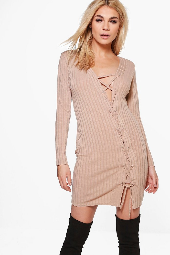 Jessica Asymmetric Lace Up Rib Knit Dress
