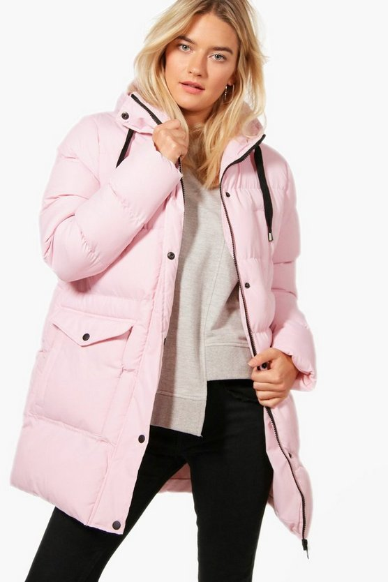 Longline Hooded Quilted Coat