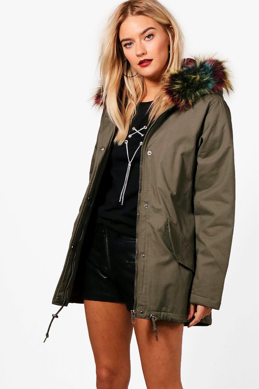 Parka With Multi Faux Fur Hood - khaki