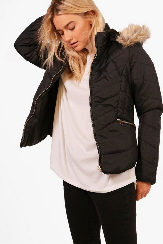 Nadia Fitted Padded Jacket With Faux Fur Hood