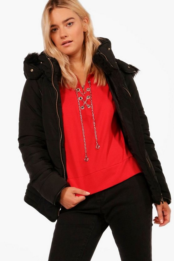 Gabriella Fitted Padded Jacket With Faux Fur Hood