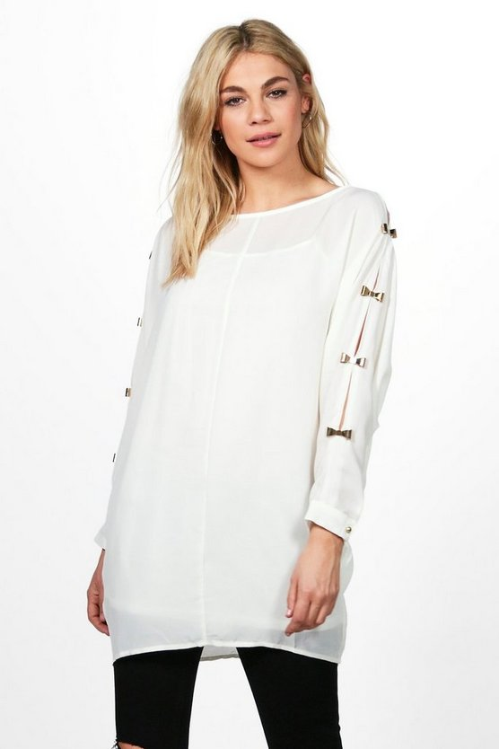 Amy Bow Trim Sleeve Top