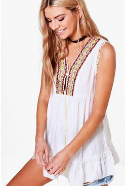 Eva Embroidered Smock Top