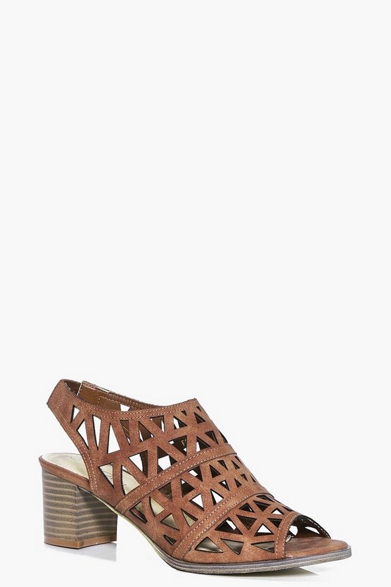 Harriet Lazer Cut Peeptoe Shoe Block Heels