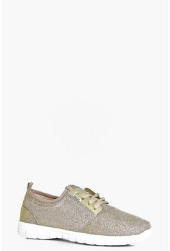 Sophie Glitter Jersey Lace Up Trainer