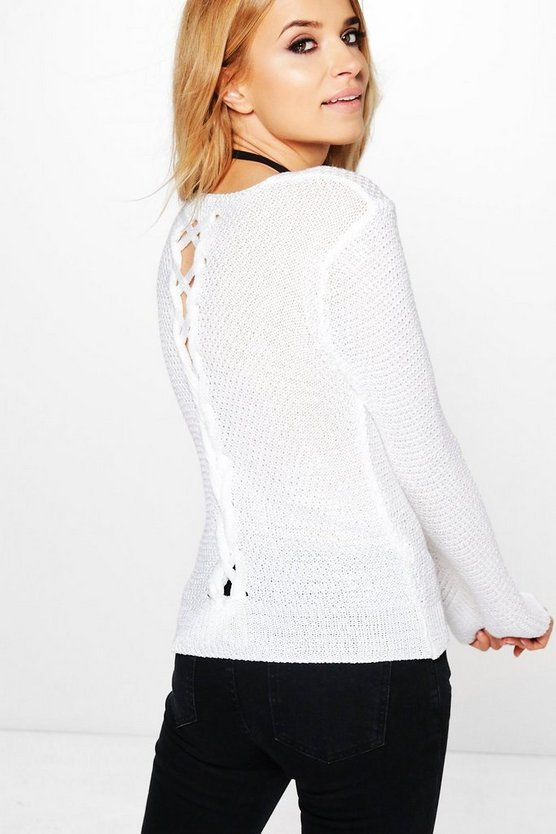 Leah Lace Up Back Jumper