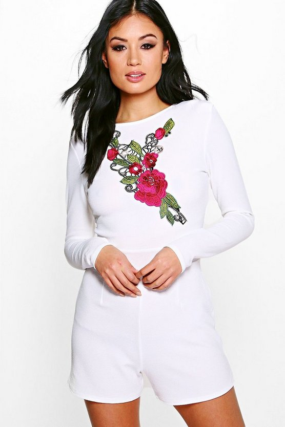 Eille Embroidered Detail Full Sleeve Playsuit