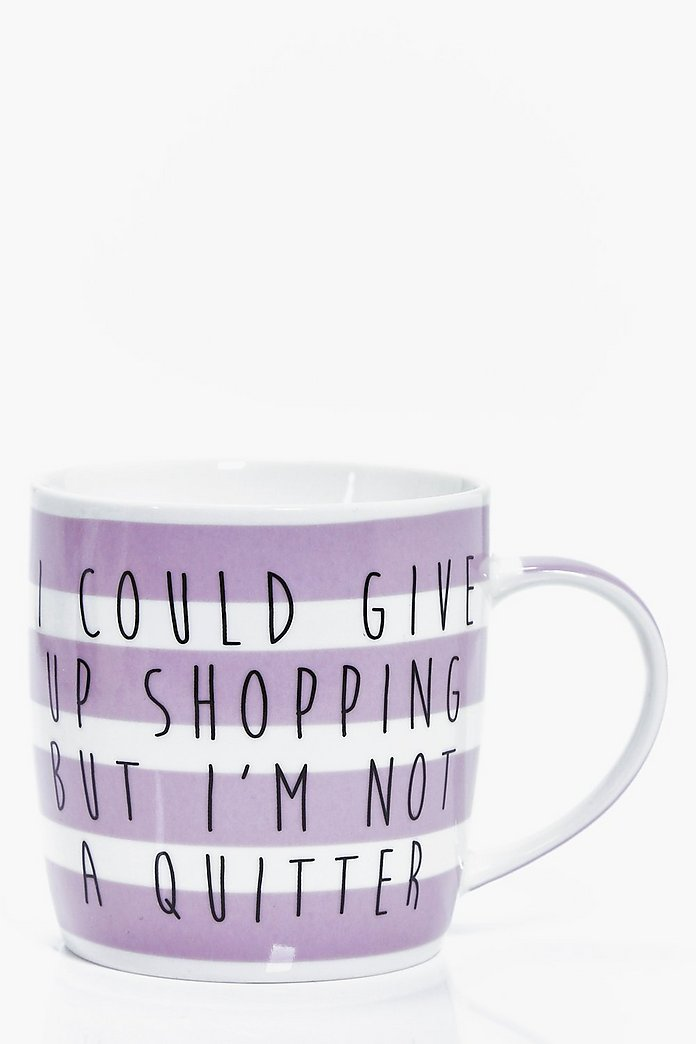 I Could Give Up Shopping Stripe Mug