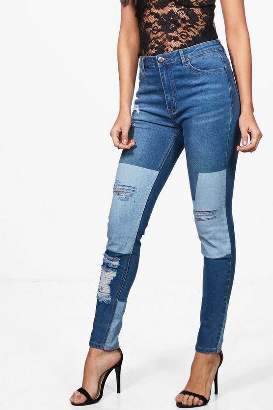 Sarah Mid Rise Two Tone Distressed Skinny Jeans