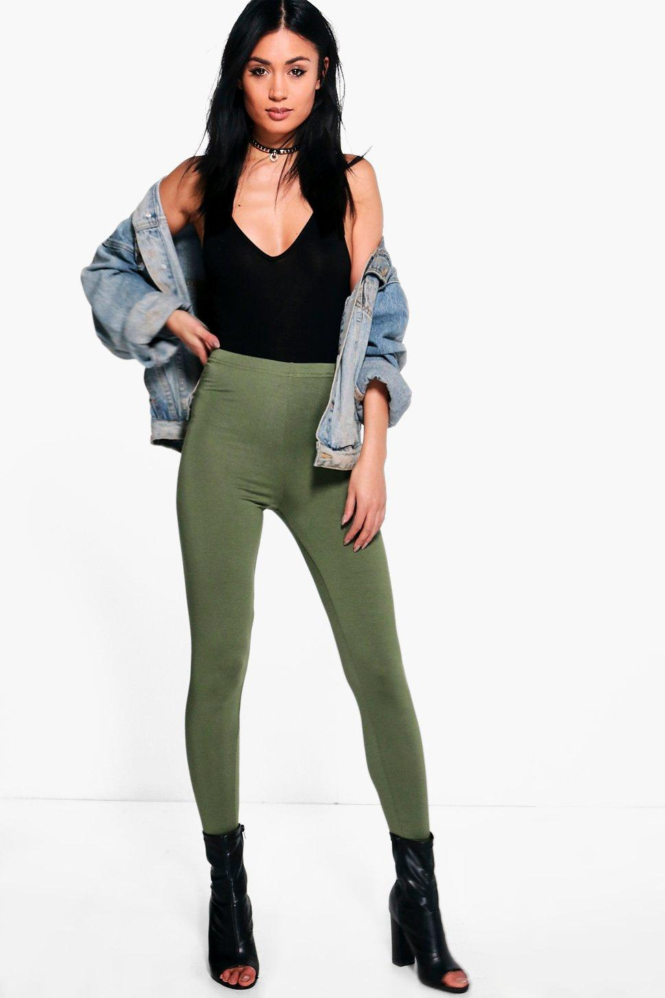 Annie Basic Jersey Leggings khaki