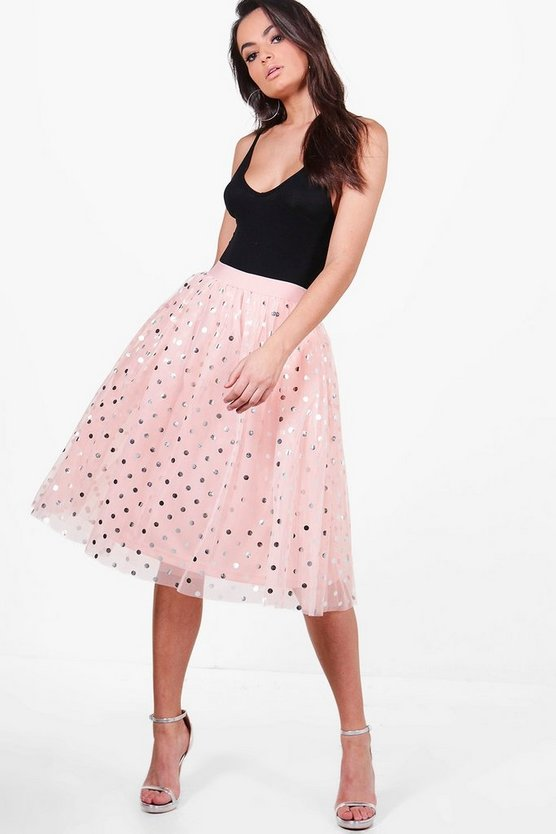 Gigi Metallic Polka Dot Full Tulle Midi Skirt