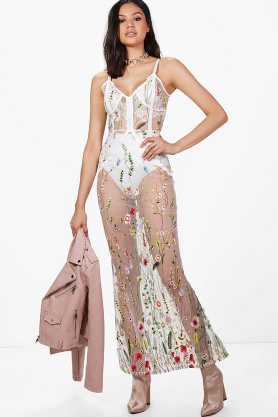 Boutique Niamh Floral Embroidered Maxi Dress