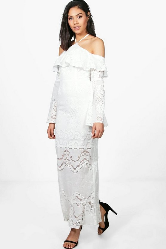 Boutique Frey Bardot Ruffle Lace Maxi Dress