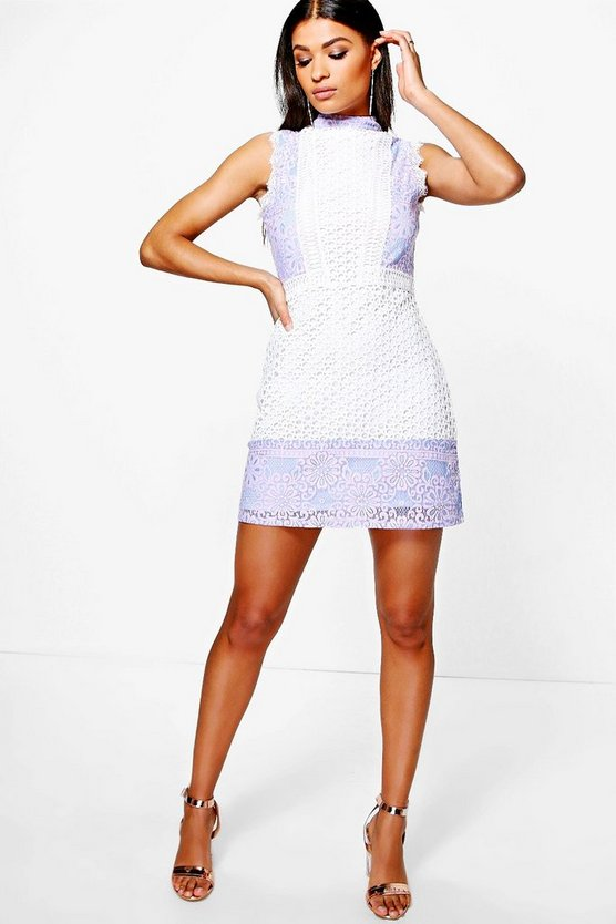 Boutique Mol Crochet & Lace Panel Shift Dress