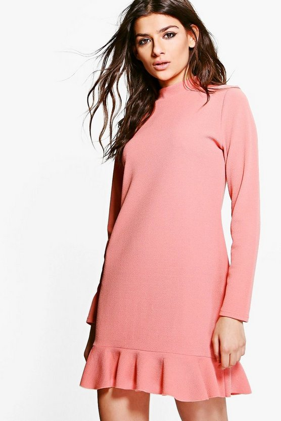 Yasmin Ruffle Hem Long Sleeve Shift Dress
