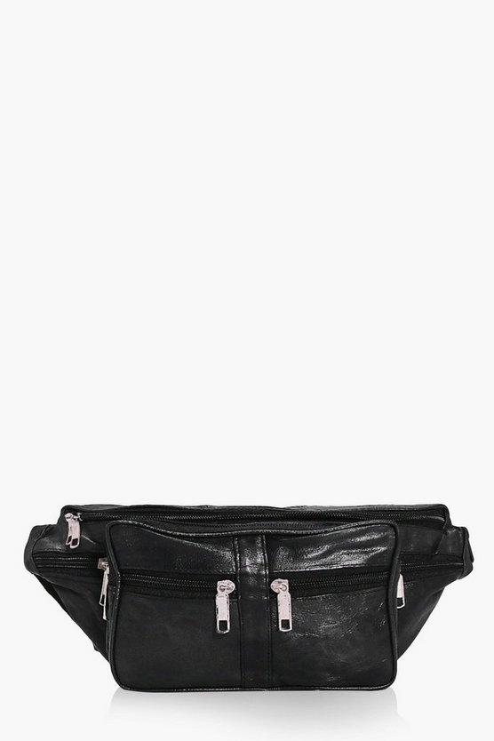 Cerys Multi Zip Front Leather Bumbag