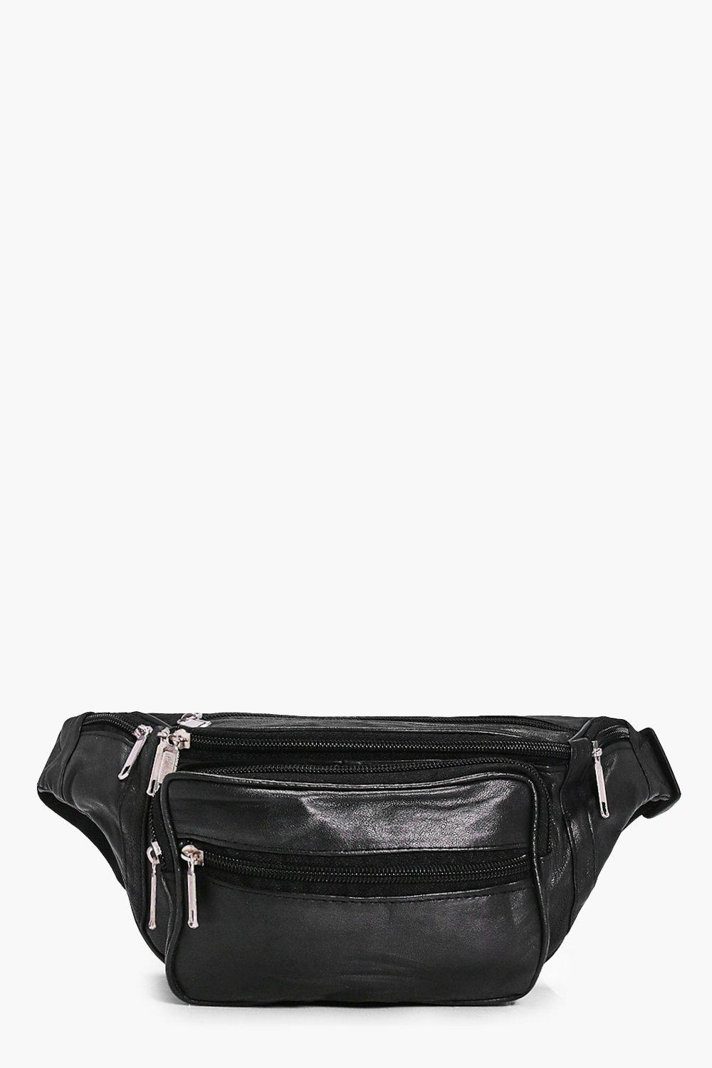Zip Pocket Front Leather Bumbag - black - Lucia Zi
