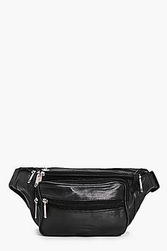 Lucia Zip Pocket Front Leather Bumbag
