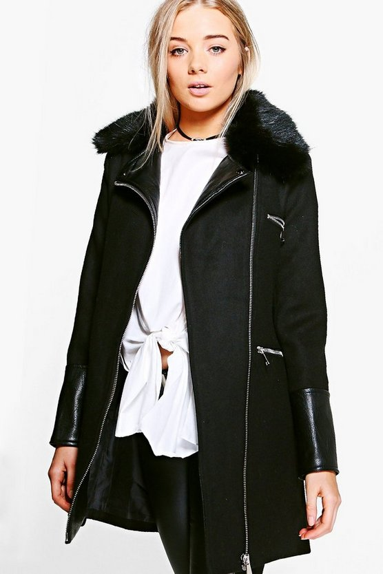 Freya Faux Fur Trim Biker Coat