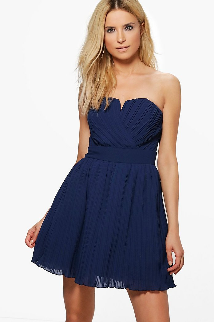 Milllie Pleated Bandeau Skater Dress