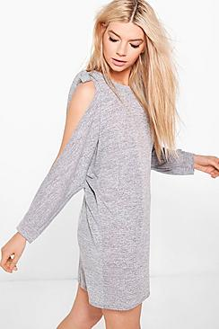 Faye Tie Cold Shoulder Oversized Knitted Dress