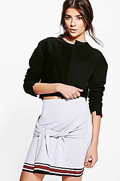 Harlow Contrast Hem Tie Waist Mini Skirt
