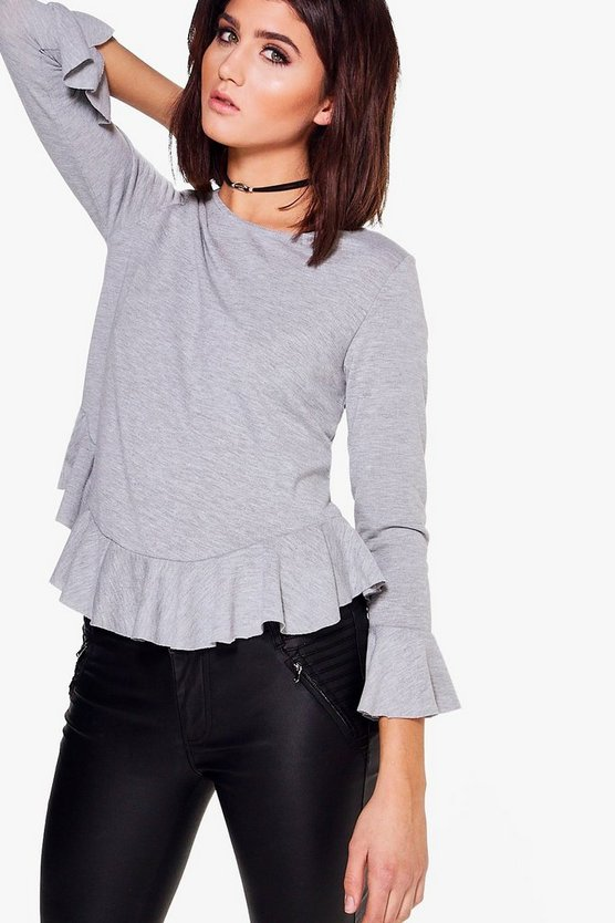 Lauren Ruffle Hem & Cuff Knitted Top