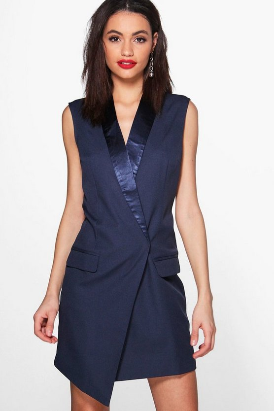 Emily Sleeveless Tailored Tuxedo Woven Blazer Dress