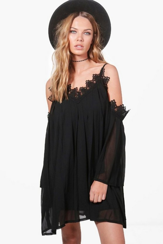 Kitty Pleated Cold Shoulder Swing Dress