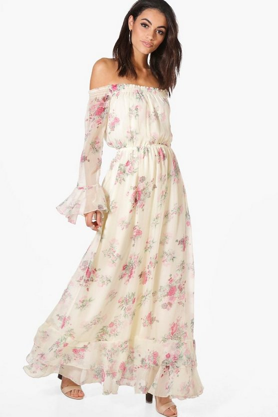 Dahlia Floral Ruffle Hem Maxi Dress